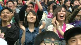 Spectators at a video games competition