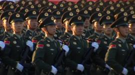 Soldiers marching in Beijing