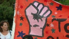 Fist image on protest sign