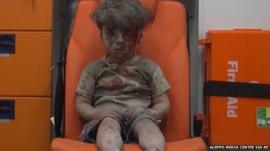 Boy in ambulance in Aleppo