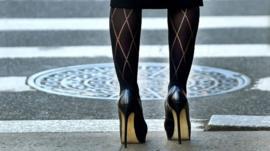 Woman in Black High heels