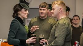 Duchess of Cambridge and soldiers