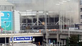 Smoke and broken windows at Zaventem airport in Brussels