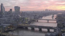 Drone shot of London skyline