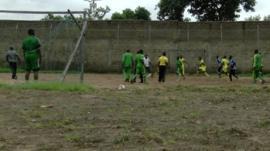 Former Boko Haram members playing football