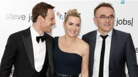 The film's stars with director Danny Boyle