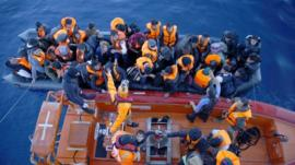 Refugees rescued off the coast of Turkey