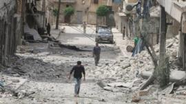 Damaged buildings after airstrike in the rebel-held area of Aleppo's Baedeen district