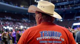 Trump supporter wearing 'Victory Tour' t-shirt
