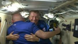 Tim Peake enters the International Space Centre