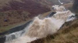 Torrent of water in the Peak District
