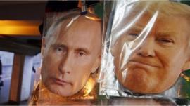 Putin and Trump masks