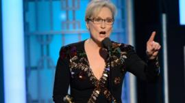 A handout photo made available by the Hollywood Foreign Press Association (HFPA) on 09 January 2017 shows Meryl Streep accepting the Cecil B. DeMille Lifetime Achievement Award
