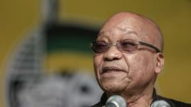 South African P:resident and South African ruling party African National Congress (ANC) President Jacob Zuma gestures as he gives the opening remarks at ANC