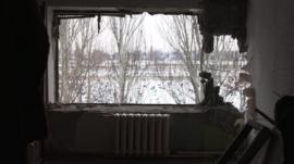 Ruined interior of Ukraine home