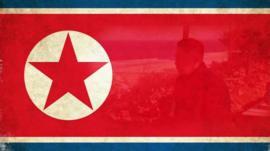 Kim Jong-un and North Korean flag