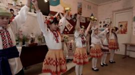Ukrainian children having music lesson