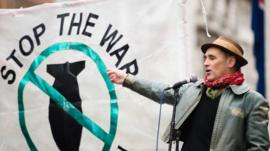 Mark Rylance attends a protest against the British government