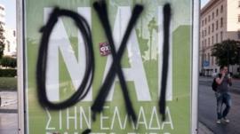 Vandalised poster in Greece