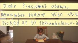 Alex, 6, from New York, reads his letter to the US President in a White House-produced video