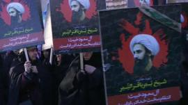 Iranians protesting outside Saudi Arabian embassy in Tehran