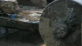 Close up of wheel of 350-year-old gun carriage