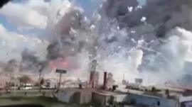 A dramatic explosion in a fireworks market outside Mexico city was captured on video.