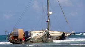 A capsized boat off the coast of Antigua