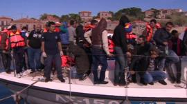 Migrants rescued off the coast of Lesbos