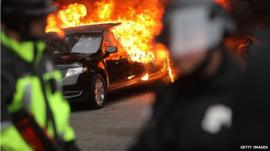 Limo on fire in Washington DC
