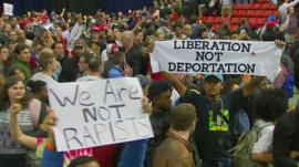 Protesters at a Donald Trump rally in Chicago