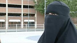 A woman wearing a burka