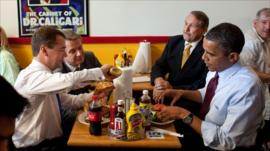 President Obama and Dmitry Medvedev at Ray's Hell Burger