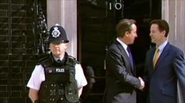 Cameron and Clegg outside Number Ten