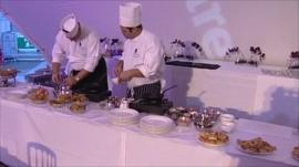 Chefs cooking at the World Curry Festival