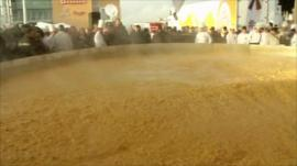 Chefs cook world's largest omelette