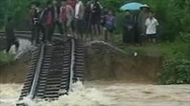 Submerged train track