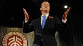 David Cameron addresses students in China