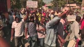 Protest in Port-au-Prince, Haiti