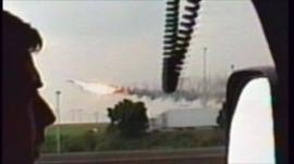 Concorde on fire moments before it crashed in Paris
