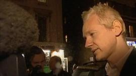 Julian Assange being interviewed after being released on bail