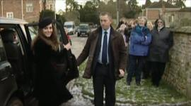 Kate Middleton arriving at friend's wedding
