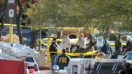 Police and FBI at the scene of the shooting