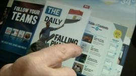 The newspaper as seen on the iPad