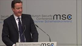 David Cameron at a security conference in Germany
