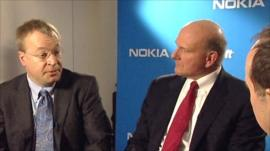 Nokia chief executive Stephen Elop and Microsoft chief executive Steve Ballmer talk to Rory Cellan-Jones