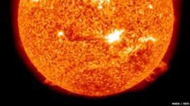 Solar flare from sunspot