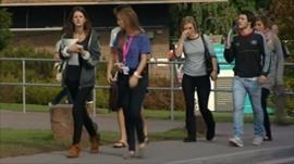 Students walking to university