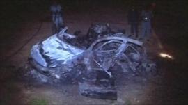 Sudan air strike car wreckage