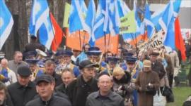 Demonstrators in Kiev